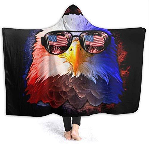 Manta con Capucha Águila con Gafas de Sol Manta de Tiro de Sherpa de Primera Calidad Reversible y Duradero Abrigo de Bata con Capucha Súper Suave y fácil de cuidar Manta de Tiro-Negro