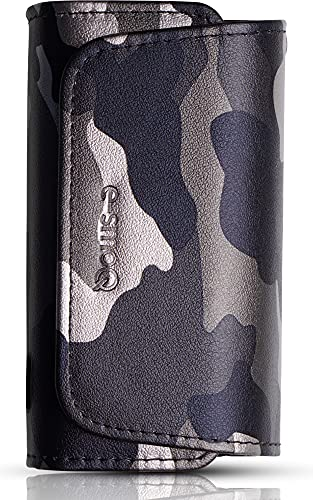 e-smoQ® Tasche für IQOS 3/3 Duo Heets - Leder Etui, verschließbare Schutzhülle - Zubehör für E-Zigarette Starter Kit Charger (28 Camouflage Weiß)