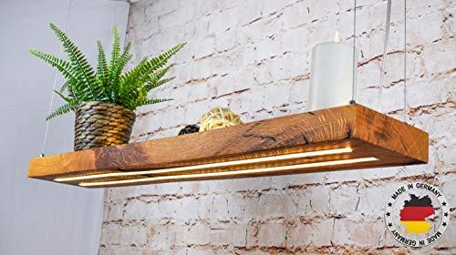 Tribus | LED Hängelampe | Perfekt über dem Esstisch | Pendelleuchte holz | Edles Design | aus massiver Wild eiche | als Regal verwendbar | Dimmbar | (Wildeiche, 100 cm)