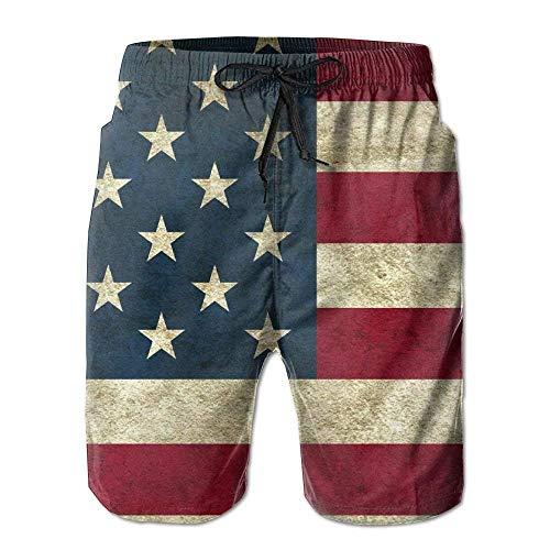 Retro USA amerikanische Flagge Quick Dry Lace Boardshort Strand Shorts Hosen Badehose Humor Badeanzug mit Taschen
