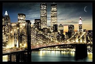 Buyartforless Work Framed Manhattan Lights New York City Skyline 36x24 Art Poster Print Brooklyn Bridge World Trade Center Twin Towers, Black