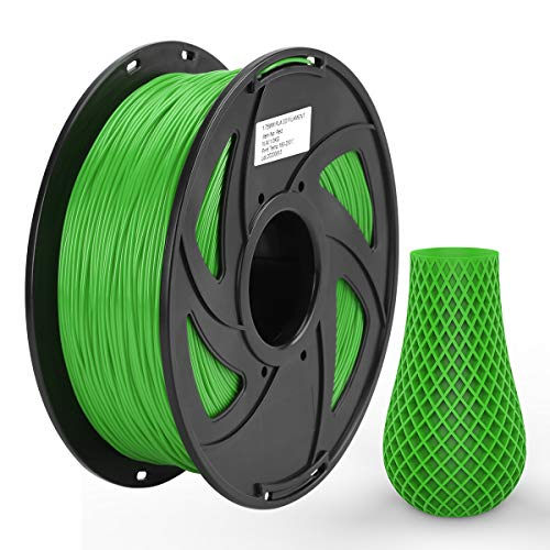 Ezgogo 3D Printing Filament Refill Pla 1.75mm, 1kg Spool (2.2lbs), Dimensional Accuracy +/- 0.05 mm, Fit Most FDM Printer(Green)