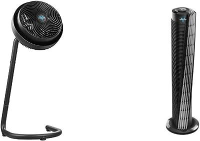 "Vornado 783 Full-Size Whole Room Air Circulator Fan with Adjustable Height & 184 Whole Room Air Circulator Tower Fan, 41"", 184-41"", Black"