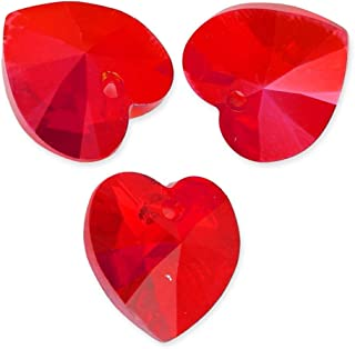 20pcs Top Quality 10mm Heart Crystal Beads Light Red July Birthstone Charms Top Drill for Jewelry Craft Making BB15-7