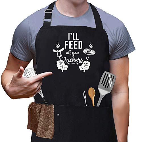 Skull Chef I'll Feed All You Aprons, Funny Black BBQ chef Aprons for Men Women with 3 Pockets, Cute Gardening Grill Kitchen Cooking Apron, Unique Birthday/christmas/thanksgiving BBQ & Grilling Gifts