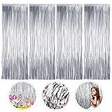Cortinas de Oropel, 4 Pack Plata Fringe Shimmer Cortina Decoración Fondo para Fiesta de la Boda Fiesta de Cumpleaños...