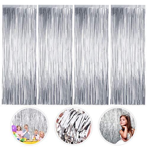 Cortinas de Oropel, 4 Pack Plata Fringe Shimmer Cortina Decoración Fondo para Fiesta de la Boda Fiesta de Cumpleaños Puerta Decoraciones de Ventanas (1m x 2m)
