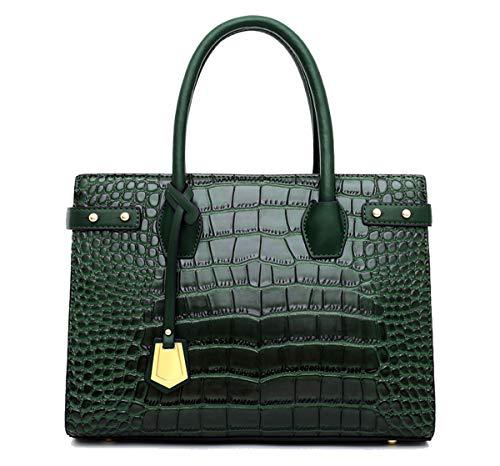 Tisdaini® Damenhandtaschen mode Hohe Kapazität kroko Schultertaschen PU leder Shopper Umhängetaschen Grün