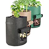 Futone Grow Bags, Potato Planter Bags, Planting Fabric Pots with Handles and Flap, Garden Bags for Vegetables, Tomatoes, Carrots, Onions (10 Gallon)