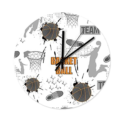 Reloj de pared de baloncesto de madera, vintage, para cocina, para oficina, salón, dormitorio, habitación de los niños, cocina, sin ruido de tictac, blanco, 30 x 30 cm