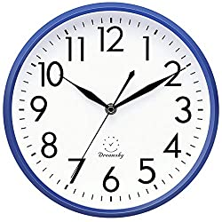 DreamSky 10 Non Ticking Wall Clock,Decorative Indoor/Kitchen Round Clock,3D Numbers Display,Battery Operated Wall Clocks