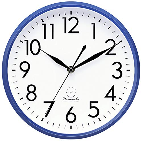 Simple White and Blue Battery Operated Clock for Walls
