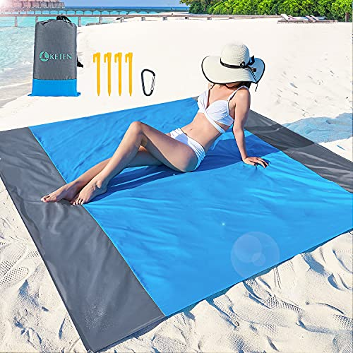 """beach mat for adults Keten Beach Blanket, 79""""x 83""""Sandproof Beach Mat for 4-7 Adults, Oversized Portable Picnic Mat Outdoor Blanket for Travel, Camping, Hiking"""