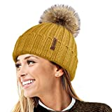 TOSKATOK HAT Tricks by PARIELLA TM Womens Winter Rib Knitted Hat/Beanie with Detachable Chunky Faux Fur Bobble Pom Pom - Available in 5 Colours-2 Mustard