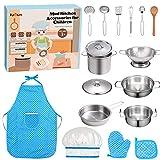 FUQUN Juguetes de Cocina para niños Accesorios, Inoxidable 17 Piezas Set Utensilios de Cocina Culinario Mini Cocina de Juguete,...
