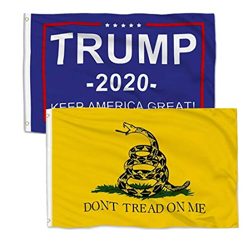 Thirty seven DAYS Trump 2020 Flag Keep America Great Flag and Don't Tread On Me Gadsden Flag 3x5 ft Made by 100% Polyester with Brass Grommet