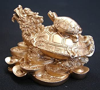 Feng Shui Dragon Turtle Chinese Dragon Tortoise Sitting on Chinese Coins and Ingot for Wealth