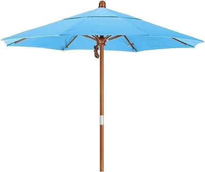 California Umbrella MARE758-SA26 7.5' Round Hardwood Frame Market Umbrella, Pacifica Capri