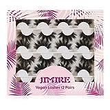 JIMIRE 12 Pairs False Eyelashes Fluffy High Volume Fake Eyelashes Faux Mink Lashes