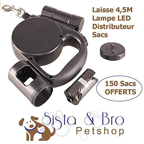 Hundeleine, mit Aufrollfunktion, LED-Taschenlampe und Spender, mit Kotbeutel, 150 Kotbeutel, für Hunde ☂ Einziehleine, robustes Band, 4,5 m, für alle Arten von Hunden bis 20 kg