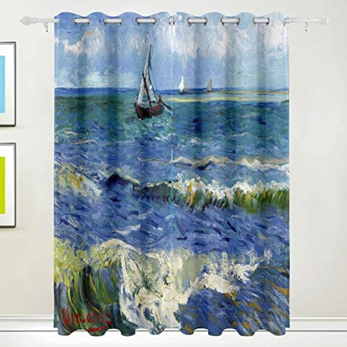 AHOMY Thermal Insulated Blackout Grommet Curtain Monet Painting Sea Sailboat Living Room Bedroom product image