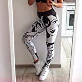 DKNBI Pantalones de Yoga Leggings cómicos Leggins Estampados de Dibujos Animados Pantalones de Rock de Alta Elasticidad Pantalones de Rock Pantalones de Discoteca Clubwear Fitness Sport