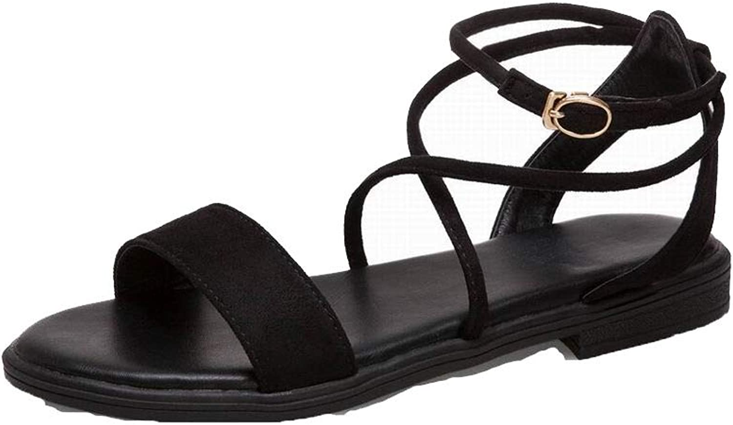 AllhqFashion Women's Low-Heels Frosted Solid Buckle Open-Toe Sandals, FBULD015385