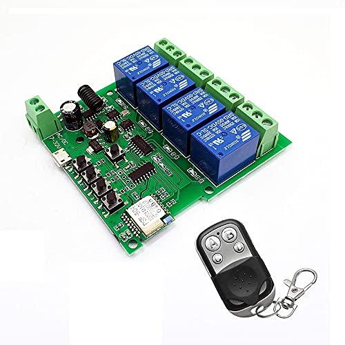 Fauge MóDulo de Interruptor Wifi InaláMbrico de Control Remoto Inteligente EWeLink 4CH Receptor RF de Autobloqueo de Avance Lento Relé Wifi para Alexa IFTTT