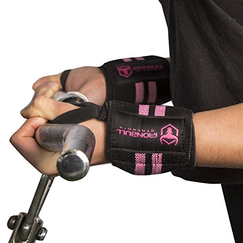 "Women Wrist Wraps with Thumb Loops - 12"" Professional Grade - Wrist Support Brace and Compression for Cross Training, Weight Lifting, Powerlifting, Strength Training (Black/Pink)"