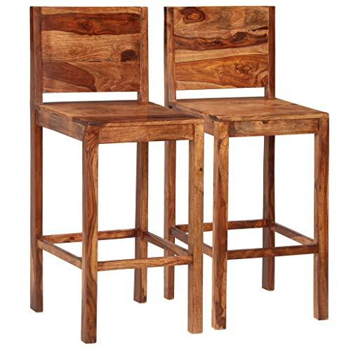 Nishore - 2er Set Holz Barhocker mit Lehne I Sheesham-Massivholz I Ergonomisch Barstuhl Bar Hocker 40 x 40 x 112 cm (B x T x H) Braun