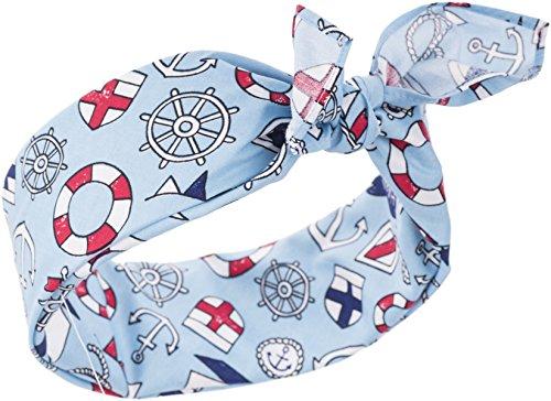 Küstenluder Damen Haarband Micha Anker Bandana Himmelblau mit Motiven 53cm x 53cm