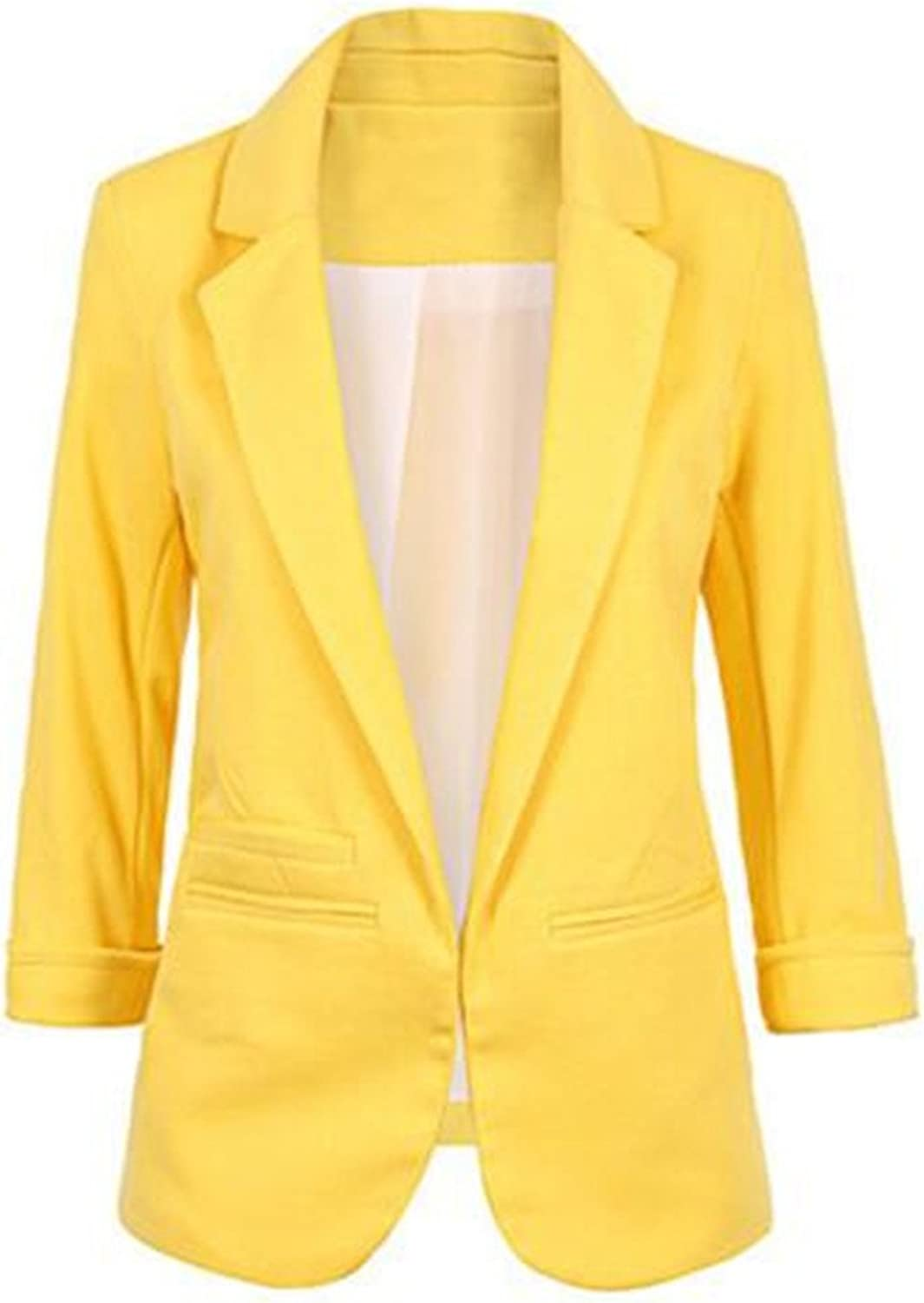 BCSY Women's Cotton Rolled Up Sleeve NoBuckle Blazer Jacket Suits