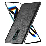 HualuBro Realme X2 Pro Case, Premium PU Leather Ultra Slim Shockproof Back Bumper Phone Protective Case Cover for Oppo Reno Ace/Realme X2 Pro Smartphone (Crocodile Black)