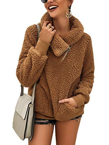 Minetom Damen Teddy-Fleece Sweatshirts Herbst Winter Mode Flauschig Oberteil Langarmshirt Tops Rollkragen Mit Taschen Pullover Braun 46