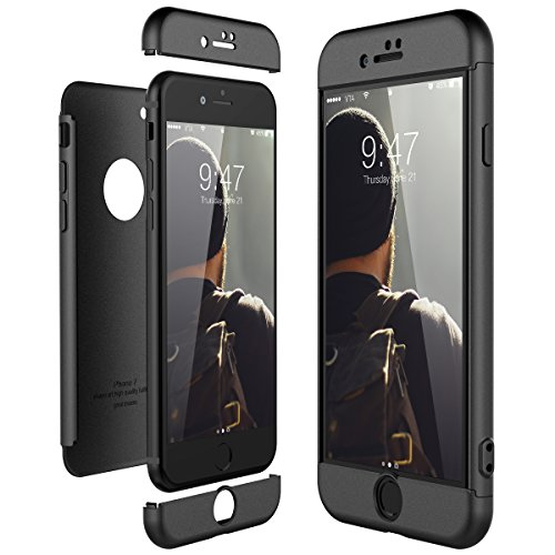 CE-Link Cover per Apple iPhone 7 360 Gradi Full Body Protezione, Custodia iPhone 7 Silicone Rigida Snap On Struttura 3 in 1 Antishock e Antiurto, iPhone 7 Case AntiGraffio Molto Elegante - Nero