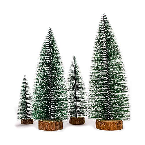 Dream Loom Artificial Mini Christmas Tree,4pcs Bottle Brush Christmas Tree, Small Sisal Trees with Wooden Bases and Multicolor Lights,Xmas Holiday Decor