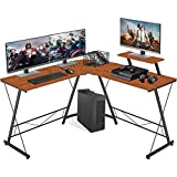 L-Shaped Computer Desk, MOLANEPHY Home Office Desk, Office Corner Desk, Home Gaming Desk with Large Monitor Stand, Large Work Space, Brown