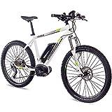 CHRISSON 27,5 Zoll E-Bike Mountainbike Bosch - E-Mounter 1.0 Weiss 52cm - Elektrofahrrad, Pedelec für Damen und Herren mit Bosch Motor Performance Line 250W, 63Nm - Intuvia Computer und 4 Fahrmodi