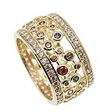JINTOP Anello di nozze in oro giallo 24K, gemma di granato con peridoto, topazio, ametista, Morganite, regali per le ragazze, taglia US 7# 8# 9#