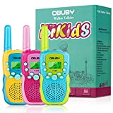 Walkie Talkies for Kids, 22 Channels 2 Way Radio Kid Toy 3 Miles Long Range with Backlit LCD Flashlight Best Gifts for Boys and Girls to Outside Adventure, Camping, Hiking 3 Pack by Obuby