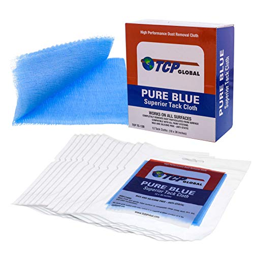 TCP Global - Pure Blue Superior Tack Cloths - Tack Rags (Box of 12) - Automotive Car Painters Professional Grade - Removes Dust, Sanding Particles, Cleans Surfaces - Wax and Silicone Free, Anti-Static