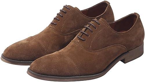 LEFT&RIGHT Herren Wildleder Derby Schuhe, Echtes Leder Casual Spitzschuh Lace-Up Wohnungen Formale Business-Schuhe