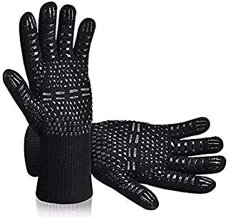 Tuffinno BBQ Grill Gloves Heat Resistant Anti Hot Kitchen Oven Pot Holder Silicone Non-Slip Glove with Fingers for Cooking...