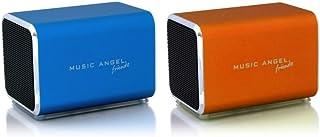 Music Angel Friendz Speaker Twin Pack Bundle for iPhone/iPad/iPod/Mp3/Laptop/Smartphone - Blue/Orange