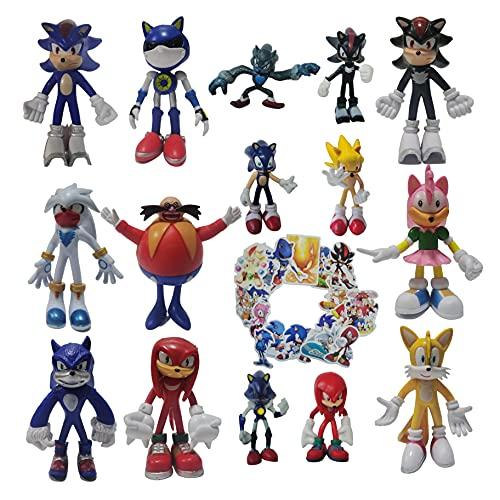 Traje de Sonic Un conjunto de nueve figuras grandes + un conjunto de seis figuras pequeñas El nuevo ratón supersónico Sonic supersónico de segunda
