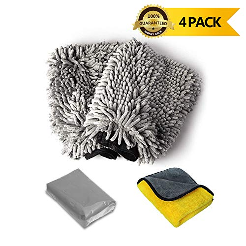 upra Microfiber Cleaning Glove Multi-Functional - 2 Pack Extra Large Size, Lint Free for Wet and Dry Ultimate Finish,1 Microfibre Towel /1 Auto Magic Clay Bar Cleaner, for Car/Home Cleaning