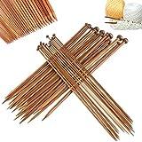 36 Piezas Agujas de Bambú, Agujas de Tejer Lana, Agujas de Punto de Madera Circulares Kit...