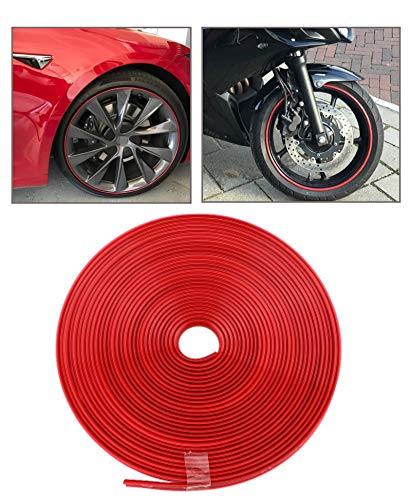Tire Care Protector Wheel Hub Stickers Strip Protector Rim Trim Wheel Protection Strips For Curb Rash Prevention – Universal Fit (Red) 8m Anti-Collision Strip Anti-Scratch Strip Decorative Strip