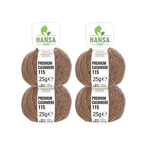 100% Premium Kaschmir Wolle in 12 Farben (weich & kratzfrei) - 100g Set (4 x 25g) Fingering - Edle Cashmere Wolle zum Stricken & Häkeln von Hansa-Farm - Dunkelbraun (Braun)
