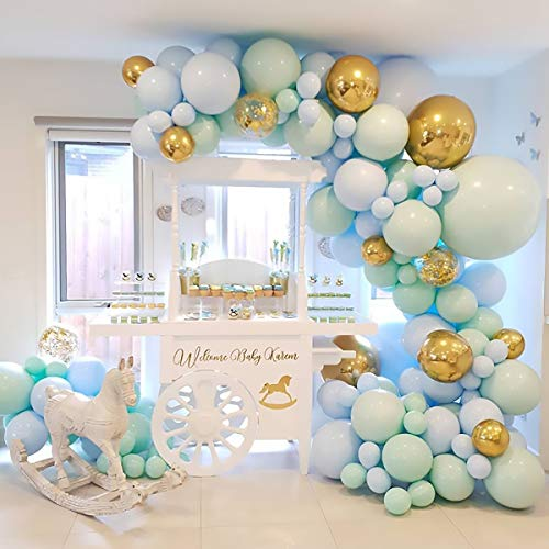 Guirnalda de globos de decoración para fiesta de cumpleaños - 124 globos de látex Macaron azul,crema de menta, globo de confeti,tira de guirnalda de globos para arco de globos,fiesta de niño, baby boy